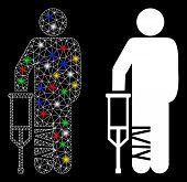 Flare Mesh Broken Leg Patient Icon With Glow Effect. Abstract Illuminated Model Of Broken Leg Patien poster