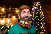 Santa Claus With Decorated Beard. Merry Christmas And Happy New Year. New Year Party. Happy Santa Wi poster