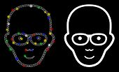 Glowing Mesh Bald Head Icon With Glare Effect. Abstract Illuminated Model Of Bald Head. Shiny Wire C poster