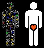 Bright Mesh Male Genitals Love Icon With Glitter Effect. Abstract Illuminated Model Of Male Genitals poster
