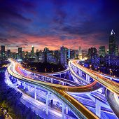 Shanghai City at sunset with light trails