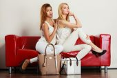 Two Women Sitting On Sofa Presenting Bags poster