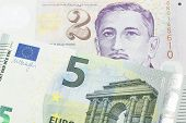 A Close Up Image Of A Five Euro Bank Note From The European Central Bank And The European Union In M poster