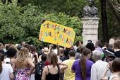 NEW YORK - JUNE 22: Supporters peacefully gather in Washington Square Park on the 8th Annual Trans D