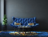 Home Interior With Furniture In Trendy Blue Color, Classic Blue Color Of The Year 2020, 3d Illustrat poster