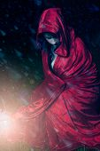 foto of little red riding hood  - Little red riding hood cought in a snow storm - JPG