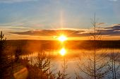 Bright Colorful Sunset With A Sunbeam On The Vilyuy River In The Northern Taiga Of Yakutia Suntar Ag poster