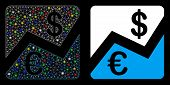 Glossy Mesh Euro And Dollar Finance Icon With Glare Effect. Abstract Illuminated Model Of Euro And D poster