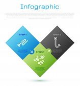 Set Line Fishing Line With Hook And Float, Fishing Hook, Fish And Fishing Hook. Business Infographic poster