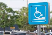 Disabled Parking Or Wheelchair Parking Sign In The Parking poster