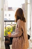 Woman Drinking Coffee At Home. Woman Relaxing With Coffee At Home. Modern Lifestyle. Beautiful Woman poster