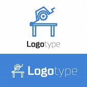 Blue Line Table Saw For Woodwork Icon Isolated On White Background. Power Saw Bench. Logo Design Tem poster