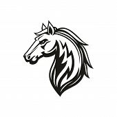 Horse Animal Icon Of Tribal Tattoo Or Racing Sport Mascot. Head Of Black Stallion, Wild Mustang Or R poster