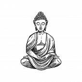 Buddhism Religious Symbol, Buddha Meditation. Buddhist Hinduism Dharma Religion, Buddha Lotus Vector poster