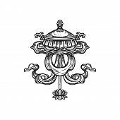 Buddhism Religious Symbol, Chatra Umbrella. Buddhist Hinduism Dharma Religion, Jewelled Parasol Vect poster