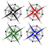 pic of pirate ship  - illustration of compass in various colors in white background - JPG
