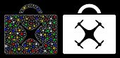 Glossy Mesh Drone Toolbox Icon With Sparkle Effect. Abstract Illuminated Model Of Drone Toolbox. Shi poster