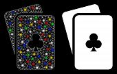 Glossy Mesh Clubs Playing Cards Icon With Lightspot Effect. Abstract Illuminated Model Of Clubs Play poster