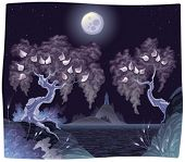 Romantic landscape on the sea in the night. Vector illustration.