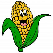 Corncob Mascot - A Cartoon Illustration Of A Corncob Mascot. poster