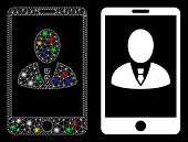 Glossy Mesh Phone Customer Profile Icon With Sparkle Effect. Abstract Illuminated Model Of Phone Cus poster