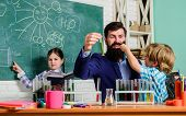 Teacher And Pupils Test Tubes In Classroom. School Clubs Interactive Education. Clubs For Preschoole poster