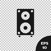 Black Stereo Speaker Icon Isolated On Transparent Background. Sound System Speakers. Music Icon. Mus poster