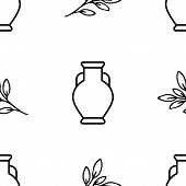 Vase And Plant. Vector Patterns In A Linear Style. Anthropology, Archeology, History. Vector Illustr poster