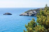 a view of the Mediterranean sea at Cala Vedella beach in Sant Josep de Sa Talaia, in Ibiza Island, B poster