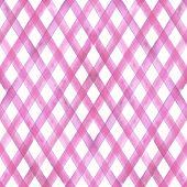 Watercolor Diagonal Stripe Plaid Seamless Pattern. Pink Stripes On White Background. Watercolour Han poster