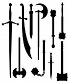 stock photo of longsword  - Set of ancient and medieval weapons silhouettes - JPG
