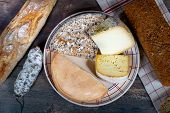 Cheeses And Tomme De Savoie, French Cheese Savoy,a French Alps France. poster
