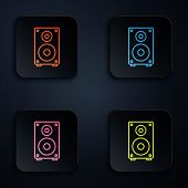 Color Neon Line Stereo Speaker Icon Isolated On Black Background. Sound System Speakers. Music Icon. poster