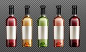 Wine Glass Bottles With Red, Green, Golden And Rose Liquid Realistic Vector Illustration. Clear Wine poster