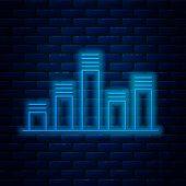 Glowing Neon Line Music Equalizer Icon Isolated On Brick Wall Background. Sound Wave. Audio Digital  poster