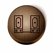 Brown Line Stereo Speaker Icon Isolated On White Background. Sound System Speakers. Music Icon. Musi poster