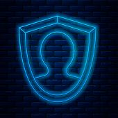 Glowing Neon Line User Protection Icon Isolated On Brick Wall Background. Secure User Login, Passwor poster