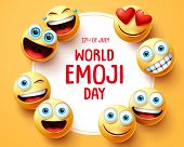 World Emoji Day Vector Background Template. World Emoji Day Text In Circle White Frame With Cute Smi poster