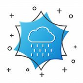White Line Cloud With Rain Icon Isolated On White Background. Rain Cloud Precipitation With Rain Dro poster