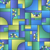 Colorful Pattern With Eyes In Geometric Shapes Grid Mondrian Avant Garde Fashion Textile Print. Patc poster