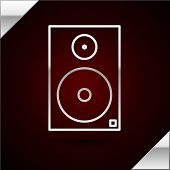Silver Line Stereo Speaker Icon Isolated On Dark Red Background. Sound System Speakers. Music Icon.  poster