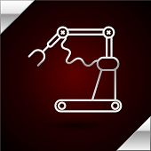 Silver Line Industrial Machine Robotic Robot Arm Hand Factory Icon Isolated On Dark Red Background.  poster