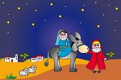 stock photo of christchild  - illustration of mary and joseph in bethlehem - JPG