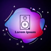 Purple Line Stereo Speaker Icon Isolated On Blue Background. Sound System Speakers. Music Icon. Musi poster