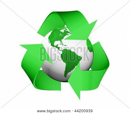 Recycle Icon Is Covering A Green And White Earth