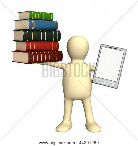 Puppet with e-book and books. Isolated over white