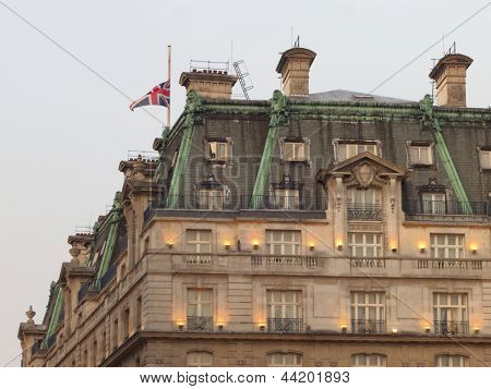 LONDON - UK, April 08: Union Jack flag at half mast at the Ritz hotel where Margaret Thatcher has died from a stroke on April 8, 2013 in London.