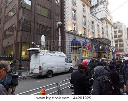 LONDON - UK, April 08: The media outside the Ritz where Margaret Thatcher has died from a stroke on April 8, 2013 in London.