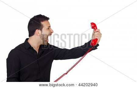 Angry Businessman shouting At Phone Isolated On White Background