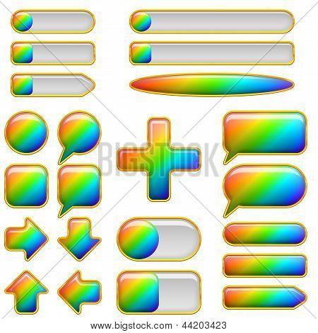 Rainbow glass buttons, set